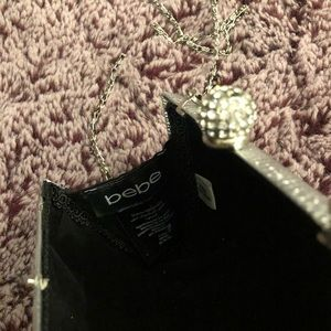 bebe Bags - bebe Silver Clutch with Shoulder Chain